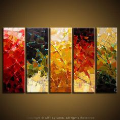 """Rainbow Of Autumn Lights"" - Original Abstract Art by Lena Karpinsky, http://www.artbylena.com/original-painting/553/rainbow-of-autumn-lights.html"
