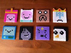 adventure time perler bead coasters, by wheresmyturtle at etsy