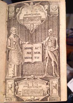 1671  BOOK LATIN MASS DEATH MEDICAL PHARMACOLOGY OCCULT Postmortem Burial skull