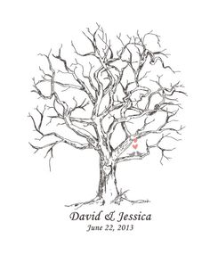 Canvas wedding tree guest book hand drawn fingerprint for Wedding tree guest book free template