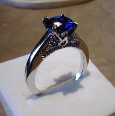 Beautiful Mystic Blue Solitaire White GP Cocktail Silver Ring Size 8 #Unbranded #Cocktail
