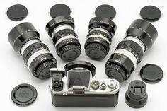 Nikon F #6400492, 2.1cm f4 lens #220235 with finder #200166, 3.5cm f2.8 lens #920326, 5cm f2 lens #520477, 10.5cm f/2.5 lens #120230, 13.5cm f/3.5 lens #720734 and with original NIPPON KOGAKU lens hoods, filters and caps. Collection Richard de Stoutz! Thanks Richard for sharing!