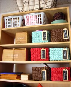 Wooden baskets serve as a great place to store craft materials.