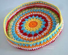 """When I read """"stool"""", I was not thinking of the kind you sit on! Diy Crochet Basket, Crochet Bowl, Love Crochet, Crochet Motif, Crochet Hooks, Crochet Purse Patterns, Doily Patterns, Crochet Purses, Crochet Cushions"""