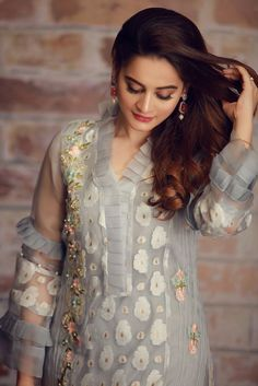 Beautiful blue Pakistani unstitched dress by Limelight printed collection Pakistani Formal Dresses, Pakistani Fashion Casual, Pakistani Wedding Outfits, Pakistani Dress Design, Indian Dresses, Indian Fashion, Sleeves Designs For Dresses, Dress Neck Designs, Blouse Designs