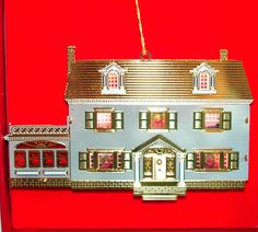 Bing & Grondahl 1920's HOUSE Dollhouse Gold Plated Brass Metal Tin Ornament