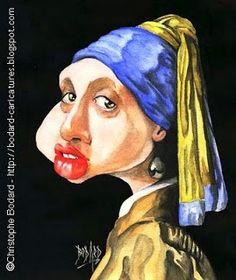 LES CARICATURES DE BOD': La Jeune Fille à la Perle, d'après Vermeer