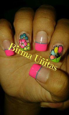 Uñas Fingernail Designs, Toe Nail Designs, Rock Nails, Luminous Nails, Nail Tips, Nail Ideas, Nails 2017, Feet Nails, French Tip Nails