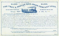 Troy & Boston Rail Road Company 1 June 1867, Unissued Certificate of a 7 % Mortgage Bonds for funding debt and completing rail road for US-$ 1,000, #276, 21.7 x 35.4 cm, blue, white, some coupons remaining, minor folds, otherwise EF, vignette with train. Only this bond is listed in Cox. Rarity from the collection of Tankred Menzel.