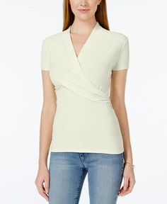 Charter Club Petite Crossover Wrap Top, Only at Macy's - Tops - Women - Macy's