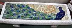 Ideas For Garden Bench Mosaic Beautiful Mosaic Diy, Mosaic Glass, Mosaic Tiles, Glass Art, Mosaic Birdbath, Mosaic Garden, Glass Garden, Mosaic Projects, Stained Glass Projects
