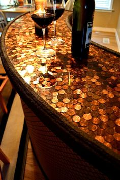LOVE the copper on top and the texture that the pennies give this. Wine Bar Penny Top Home Bar Serving Station by MindsEyeDesign11, $1200.00
