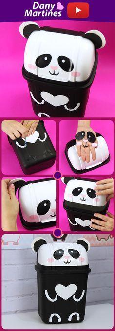 Tutorial Lixeira de Panda DIY - Do It Yourself Aprenda a fazer uma lixeira de panda