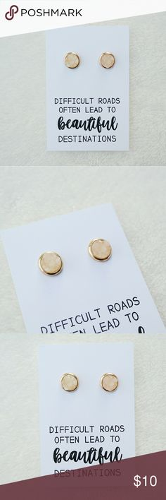Round Faux Druzy Earrings You'll receive one pair of faux druzy earrings and quote card. Would make a lovely gift! Jewelry Earrings