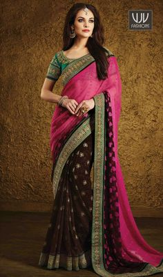 Winsome Hot Pink Patch Border Work Georgette Designer Saree