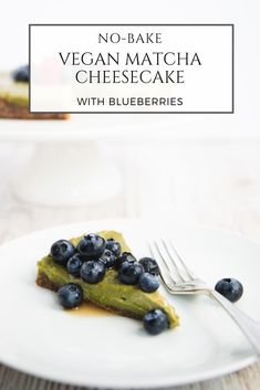 This raw, naturally sweetened, gluten-free vegan matcha cheesecake with blueberries is as delicious as it is gorgeous. The addition of matcha green tea gives it a healthy boost, plus a lovely green colour that makes it the ultimate good-for-you treat.