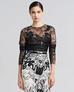 Embroidered Chantilly Lace Blouse by Oscar de la Renta at Bergdorf Goodman.
