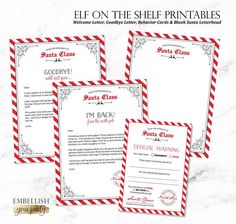 Christmas Elf on the Shelf Printables | Elf Welcome Letter | Elf Goodbye Letter | Elf Behavior Cards | Elf Report Card | Elf Arrival Letter | Official Warning Cards | Naughty or Nice Cards | Digital File | Printable DIGITAL FILE for DIY Printing *NO physical product will be