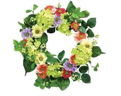 Melrose Spring Mixed Floral Wreath, 18-Inch Diameter by Melrose. $57.76. Stems are wired for easy shaping. Bold color accent piece. Made of polyester. Suitable for inside or outside in a protected area. Lush 18-inch garden wreath is loaded with spring colored flowers in shades of pink, lavender, yellow and tones of green. Berries and rose hips add texture and depth. Stems are wired and will require basic shaping to full size upon arrival.
