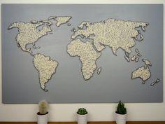 wandbild travel mit weltkarte aus bindfaden vorderansicht crafts diy pinterest. Black Bedroom Furniture Sets. Home Design Ideas