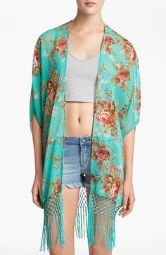 Wayf Floral Fringe Kimono