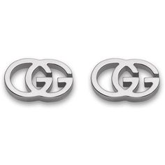 Gucci 18K White Gold Running G Stud Earrings (6.334.125 IDR) ❤ liked on Polyvore featuring jewelry, earrings, stud earrings, white gold jewelry, gucci jewellery, 18 karat gold earrings and gucci earrings