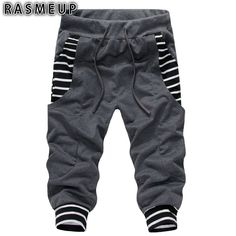 RASMEUP Men Cotton Shorts Summer Casual Bermuda Harem Shorts Mens Beach Fitness Sweat Shorts Short Hombre Outer Wear