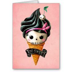 Girly Skull Ice Cream Cone Greeting Card