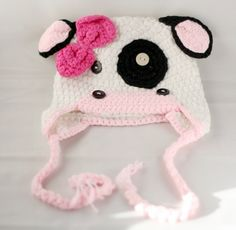 Ready to ship - Crochet baby cow hat  made with 30% milk protein yarn Size XL fits 3-8 year. $15.00, via Etsy.