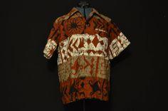 2785aa41 Vintage mens tribal print rare batik bark Rare 1960s hawaiian short sleeve  button up collar shirt aloha retro shirt Rust White Tan festival