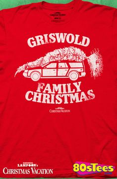 "Red Griswold Family Christmas T-Shirt: Christmas Vacation Mens T-Shirt  From the popular holiday film, Christmas Vacation, this design is artfully enhanced with the family truckster carrying ""the"" tree.  Griswold Geeks--this is a must for your men's holiday fashions."