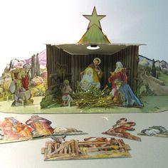 Vintage Christmas Nativity ~ Cardboard 3 Dimensional Scene ~ Circa 1950's