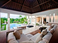 Ultimate Option @ Canggu Bali I in Mengwi, Indonesia Balinese Villa, Balinese Interior, Outdoor Living Areas, Outdoor Spaces, Villa Design, House Design, Conception Villa, Bali Luxury Villas, Bamboo Roof