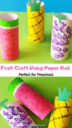 A fun way to teach about healthy eating to your little one. Make this super easy Fruit Craft Using Paper Roll. Its perfect for preschool activity. #preachoolcrafts #paperrollcraft toiletpaperrollcraft #fruitcraft