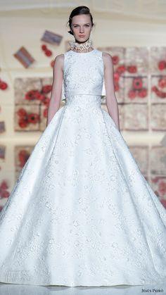 jesus peiro bridal 2017 sleeveless jewel neck crop top  ball gown wedding dress (31) mv