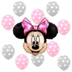 Birthday Party Baby Shower Supplies Minnie Mouse Pink Polka dots Foil balloons #Anagram #BirthdayChild