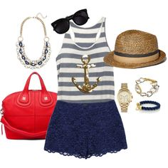 Nautical Summer Outfit ~ I would prob wear denim vest or jacket to cover up my shoulders...but its still cute!