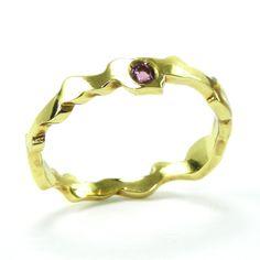 Rhodolite Garnet Ring, Gemstone Stacking Ring, Red Gemstone Statement Ring, 3D Jewelry, Unique Gift for Her, Brass Stacking Ring, Ocean Ring  #giftforher