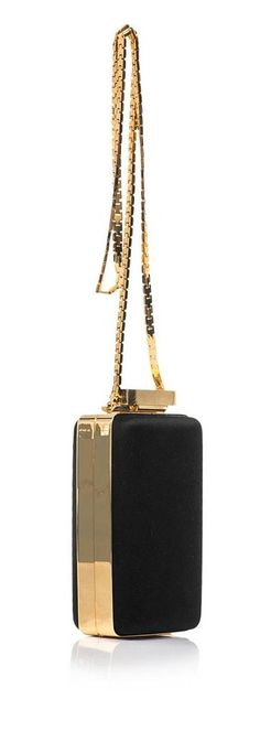 Lanvin Satin and Leather Box Clutch