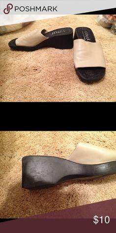 "Liz Claiborne slides Beige upper slides, 2"" heel Liz Claiborne Shoes Wedges"