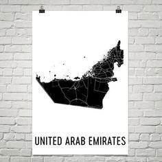 United Arab Emirates Wall Map Print - Modern Map Art