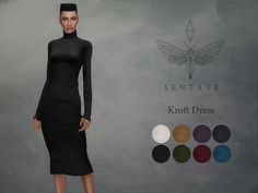 A stretchy funnel neck dress that finishes below the knee. Comes in 8 colours.  Found in TSR Category 'Sims 4 Female Everyday'