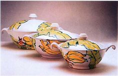 These tureens were created by Bel Prisco. Prisco was an Emerging Artist in 2002.