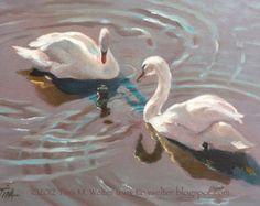 white swan painting – Etsy