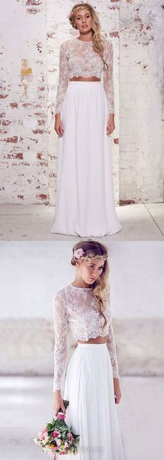 Two Piece Prom Dresses Long Sleeve, Long Prom Gowns White, 2018 Formal Party Dresses A-line Scoop Neck, Lace Evening Gowns Chiffon Ruffles Modern