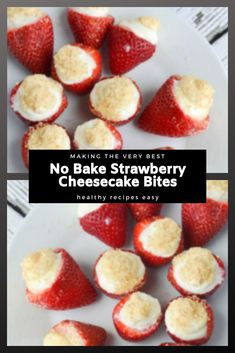 These no prepare strawberry cheesecake nibbles are overly simple to make! Recipes Dinner, Drink Recipes, Snack Recipes, Easy Healthy Recipes, Vegan Recipes, Easy Meals, Winter Recipes, Summer Recipes, Strawberry Cheesecake Bites