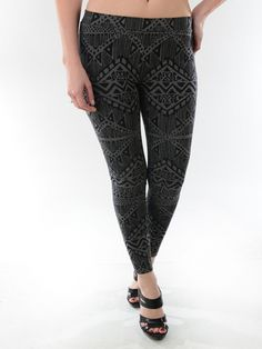 Aztec print leggings in grey