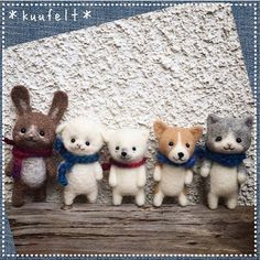 Needle felting wool cute animals bunny dog cat sheep bear (Via @kuufelt)