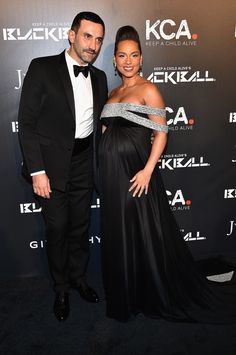 A very pregnant Alicia Keys and Givenchy designer Riccardo Tisci attended a gala event in New York.