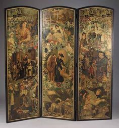 A Victorian Decoupage Three Panel Screen, late c. the two ebonized and gilt frames with arched tops containing figural decoupage panels within, red wallpaper on back, height 67 in. Funky Painted Furniture, Decoupage Furniture, Painted Chairs, Vintage Furniture, Painted Tables, Furniture Design, Folding Screen Room Divider, Folding Screens, Room Dividers